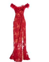 Marchesa Floral-embellished Lace Gown - Red