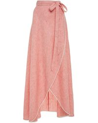 Miguelina - Lace-trimmed Linen Maxi Skirt - Lyst