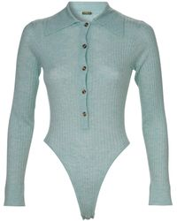 Dodo Bar Or Pollie Cutout Ribbed-knit Bodysuit - Blue