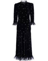 Philosophy Di Lorenzo Serafini Organza-trimmed Crystal-embellished Velvet Midi Dress - Black