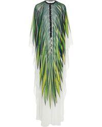 Elie Saab Palm-print Crepe Kaftan - Green
