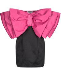 ROTATE BIRGER CHRISTENSEN Natalie Bow-detailed Satin Strapless Mini Dress - Black