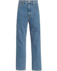 SLVRLAKE Denim Beatnik Stretch High-rise Cropped Slim-leg Jeans - Blue