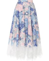 Costarellos - Mesh Knee Umbrella Skirt - Lyst