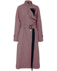 Cedric Charlier - Oversized Belted Plaid Cotton Coat - Lyst