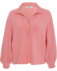 Tibi - Bell Sleeve Polo Neck Pullover Jumper - Lyst