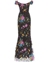 Marchesa Floral Lace Gown - Black