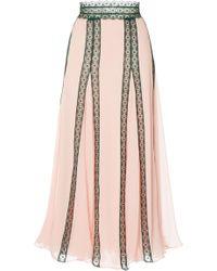 Costarellos - Silk Chiffon And Lace Trim Midi Skirt - Lyst