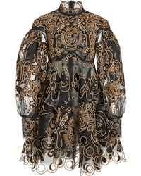 Zimmermann Ladybeetle Fortune Appliquéd Tulle Mini Dress - Black
