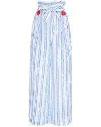 Gül Hürgel Printed Linen Wide Leg Pant - Blue