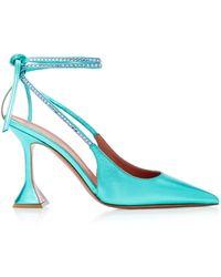 AMINA MUADDI Karma Crystal-embellished Leather Court Shoes - Blue