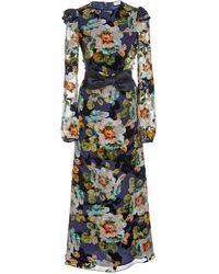 Rodarte Bow-embellished Floral-print Silk-blend Midi Dress - Blue