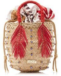 Silvia Tcherassi Nina Palm Cycas Top Handle Bag - Red