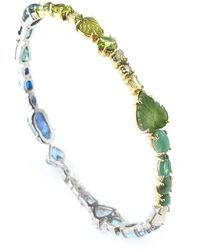 Sharon Khazzam One Of A Kind Blue And Green Baby Bangle - Metallic