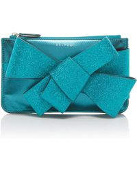 Delpozo - Mini Bow-detailed Glittered Leather Clutch - Lyst