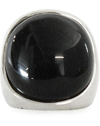 Peter Do Stone Dome Silver-tone Ring - Black