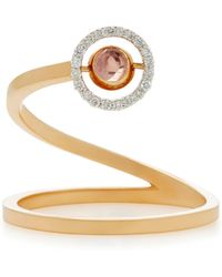 Marie Mas - Swiveling 18k Rose Gold, Blue Topaz And Pink Amethyst Spiral Ring - Lyst