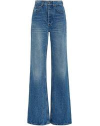 Paco Rabanne Rigid High-rise Flared-leg Jeans - Blue
