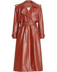 Matériel Belted Faux-leather Trench Coat - Brown