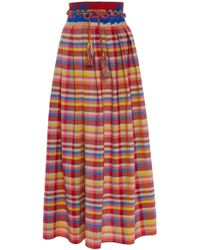 Carolina K - Santa Clara Hand Embroidered Cotton Skirt - Lyst