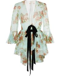 Brock Collection Floral-print Tie-detailed Silk-chiffon Jacket - Multicolor