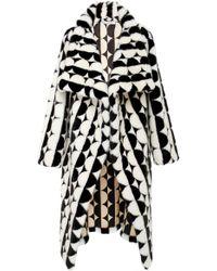 Oscar de la Renta - Geometric Shawl Fur Coat - Lyst