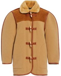 Philosophy Di Lorenzo Serafini Faux Fur-trimmed Wool-blend Felt Coat - Brown