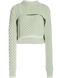 Rosie Assoulin Thousand In One Ways Convertible Cropped Cable-knit Wool And Cotton-blend Jumper - Green