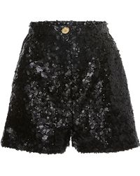 Elie Saab Tulle Paillettes Mini Short - Black