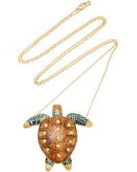 Silvia Furmanovich Marquetry Brown Turtle Pendant