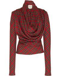 A.W.A.K.E. MODE Highlander Tartan Twill Top - Red