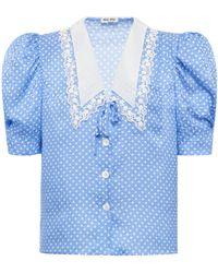 Miu Miu Polka-dot Satin Jacquard Puff-sleeve Top - Blue