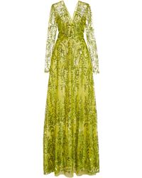 Naeem Khan Long-sleeve Embroidered Chiffon Dress - Green