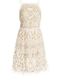 Needle & Thread Sweet Petal Embroidered Mini Dress - White