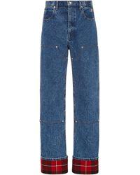 Alexander Wang Plaid-cuff Carpenter Jeans - Blue