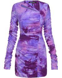 Mach & Mach Ruched Ombré Nylon-blend Mini Dress - Purple