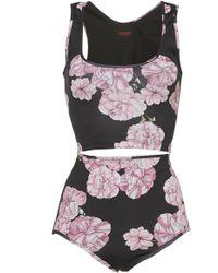 Giambattista Valli Floral Bikini Top And Button - Multicolour