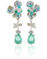 Anabela Chan Orchid 18k White Gold Vermeil Multi-stone Earrings - Blue