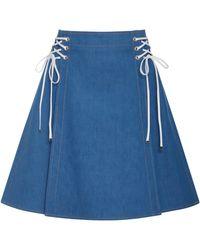 ADEAM - Lace Up Denim Skirt - Lyst