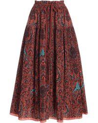 Ulla Johnson Lourdes Printed Cotton Midi Skirt - Red