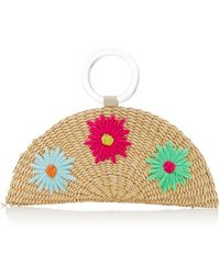Poolside Croissant Floral-embroidered Straw Bag - Multicolour