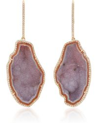 Kimberly Mcdonald - Geode And Diamond Long Stem Earrings - Lyst