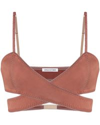 Anna October Gisele Cropped Knit Bra Top - Brown