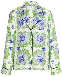 Rodarte Printed Silk Pajama Top - Blue