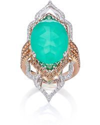 Sara Weinstock - 18k Gold, Chrysoprase, Tsavorite And Diamond Ring - Lyst