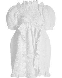 Cecilie Bahnsen Lotta Smocked Cotton-blend Dress - White