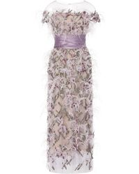 Marchesa - Illusion Off Shoulder Ostrich Feather Embroidered Gown - Lyst
