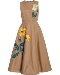Oscar de la Renta Hand-painted Floral Cotton Midi Dress - Multicolour