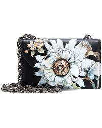 Oscar de la Renta Tro Floral-appliquéd Leather Shoulder Bag - Black