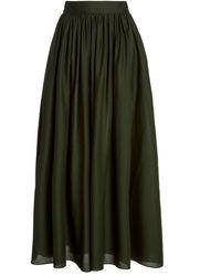Matteau Gathered Cotton Poplin Maxi Skirt - Green